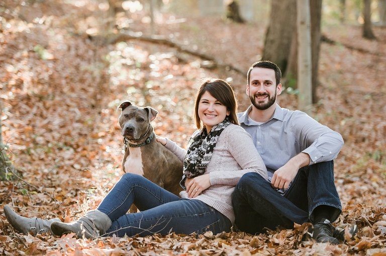 fall engagement photography with a dog